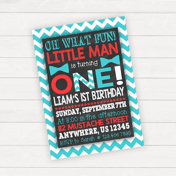 Boy 1st Birthday Invitation Fun To Be One Mustache