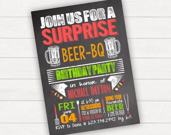 BBQ Party Surprise Birthday Party Beer BQ Printable Birthday Invitation Chalkboard Birthday Chalkboard Invitation Summer BBQ