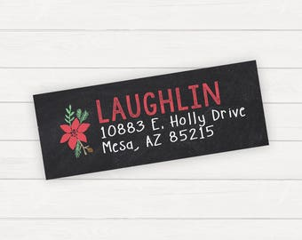 Christmas Return Address Label Christmas Labels Address Label Stickers Holiday Return Address Labels Digital Address Labels