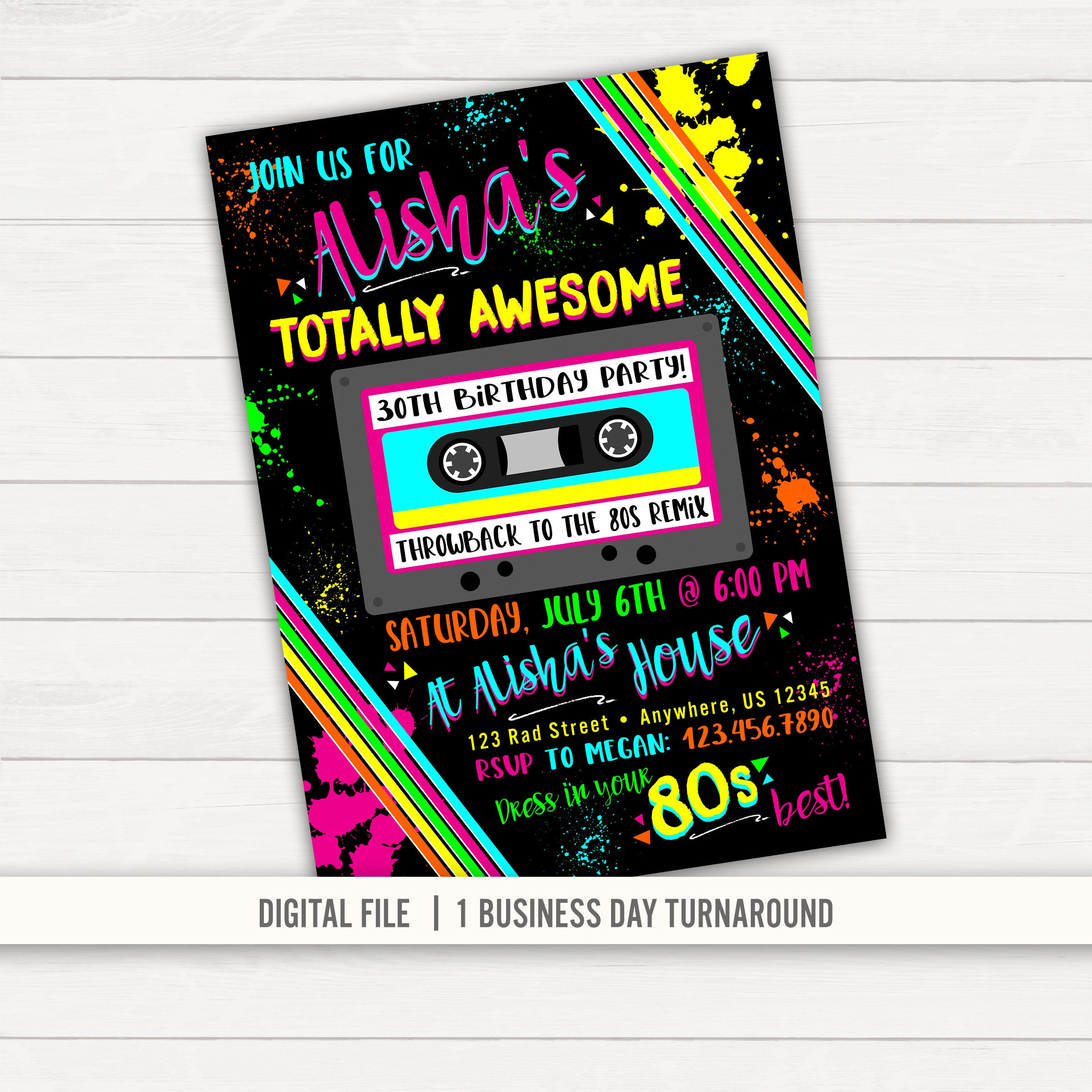 80s Birthday Invitation 80s Party Invitation 80s Invitation Etsy