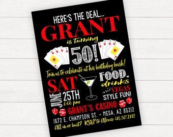 Las Vegas Birthday Invitation, Las Vegas Invitation, Las Vegas Theme Party, Casino Birthday Invitation, Casino Party, Casino Invitation