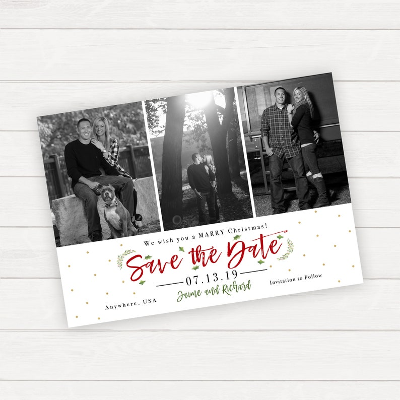 Christmas Save The Date Photo Save The Date Save The Date Magnets Engagement Photos Christmas Engagement Holiday Save The Date