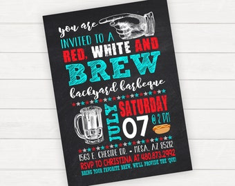 Barbecue Invitation, Barbecue Party, BBQ Invitation, BBQ Party, 4th of July Innovation, Red White and Brew, Summer BBQ Invitation
