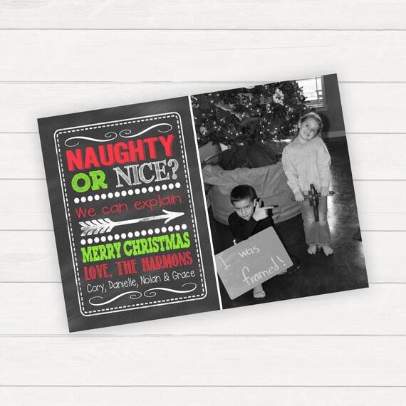naughty or nice christmas cards kids christmas cards christmas etsy - Naughty Or Nice Christmas Card