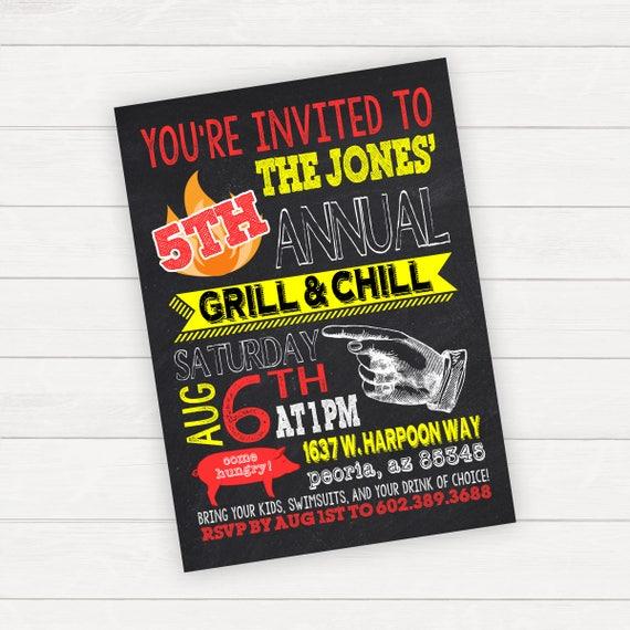 bbq invitation barbecue invitation bbq party barbecue party etsy