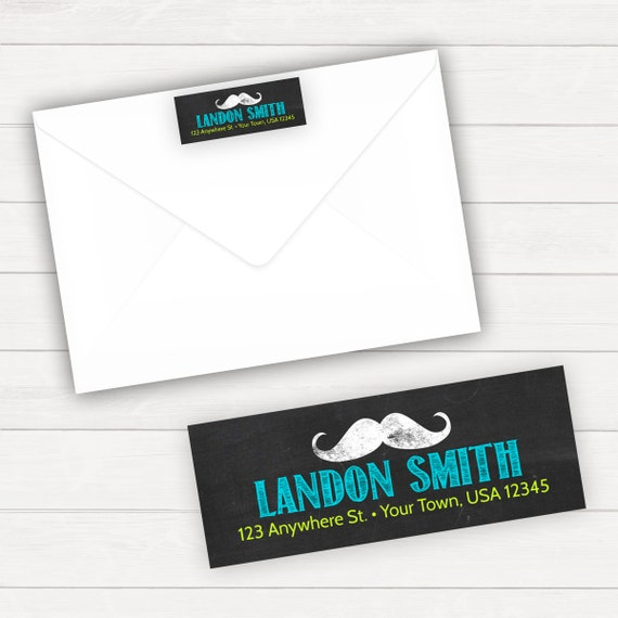 return address label mustache birthday mustache party etsy