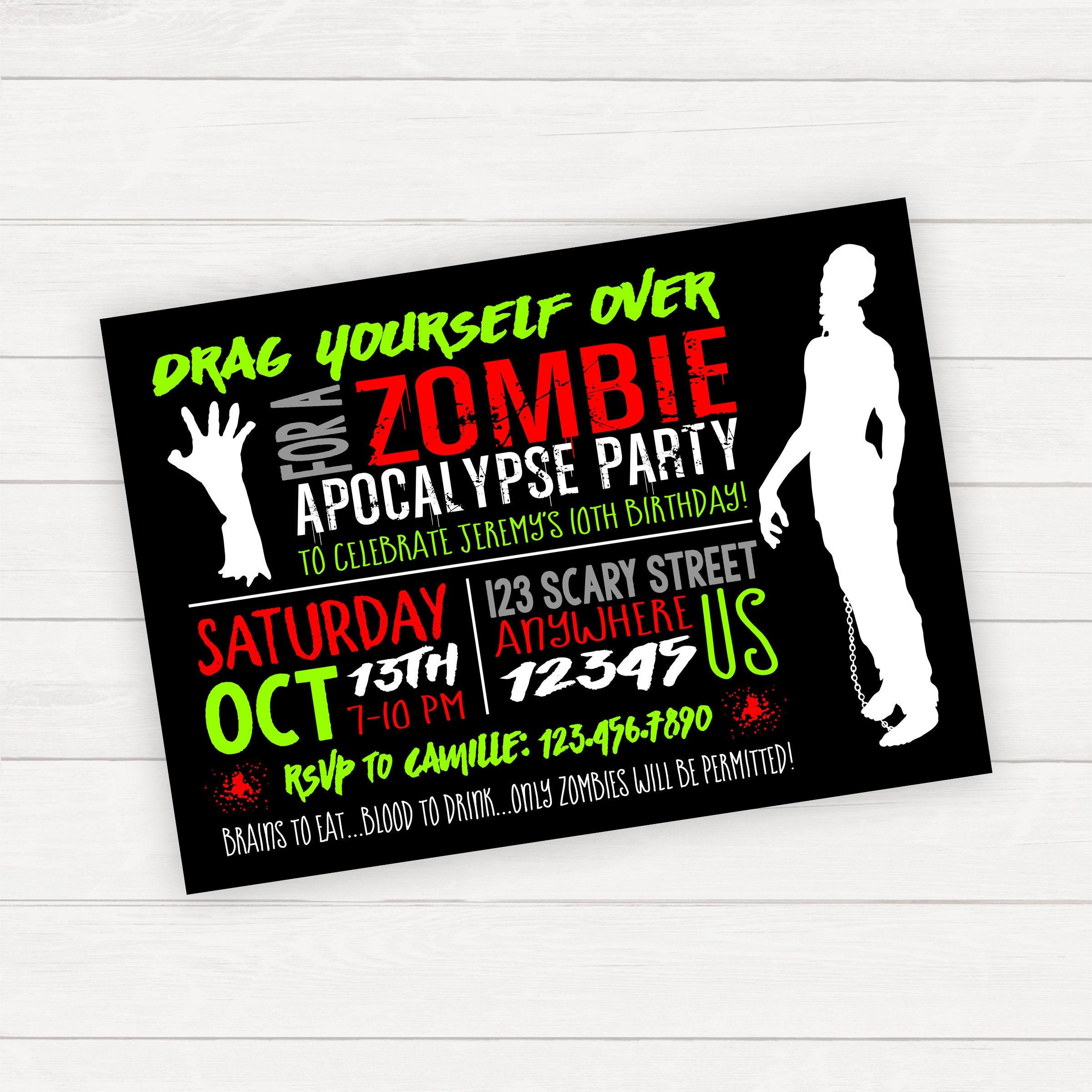 Zombie invitation zombie party zombie apocalypse halloween etsy zoom solutioingenieria Choice Image