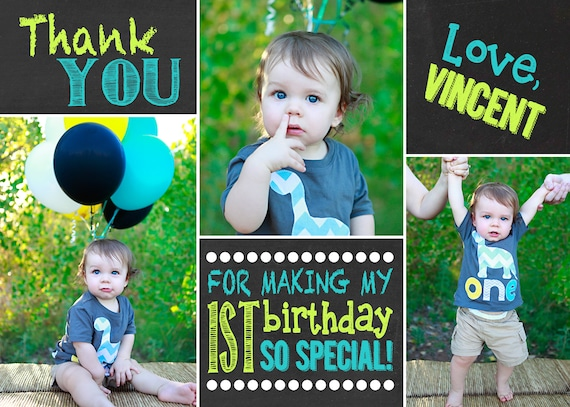 Thank You Cards First Birthday Thank You Card 1st Birthday Etsy