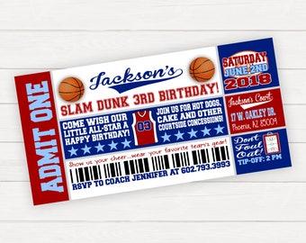 Basketball Birthday Invitation, Basketball Birthday Party, Basketball Birthday Invitation for Boy, Basketball Ticket Invitation, Slam Dunk