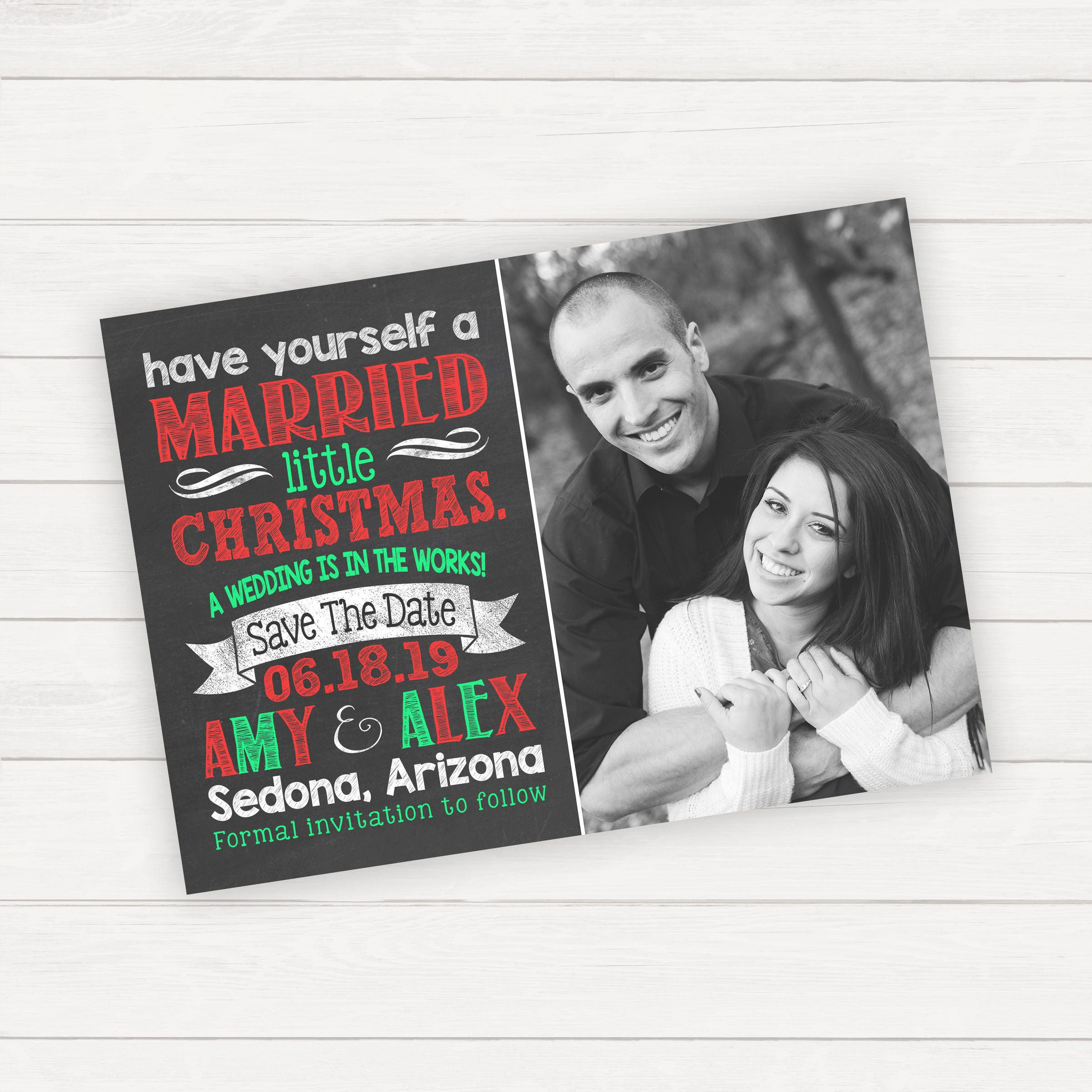 Christmas Save The Date Photo Card Engagement Card Printable | Etsy