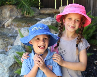 YOUTH and TODDLER Personalized Adjustable Sun Hat; Bucket Hat, Monogrammed hat, Sun protection; Child's Safari Hat, Childrens Bucket Hat