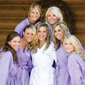 3 Sizes Including Plus Size; Over 30 Fonts RUSH Ship Included; MONOGRAMMED Robes BRIDAL Party Robes Wedding Robes in 10 Colors