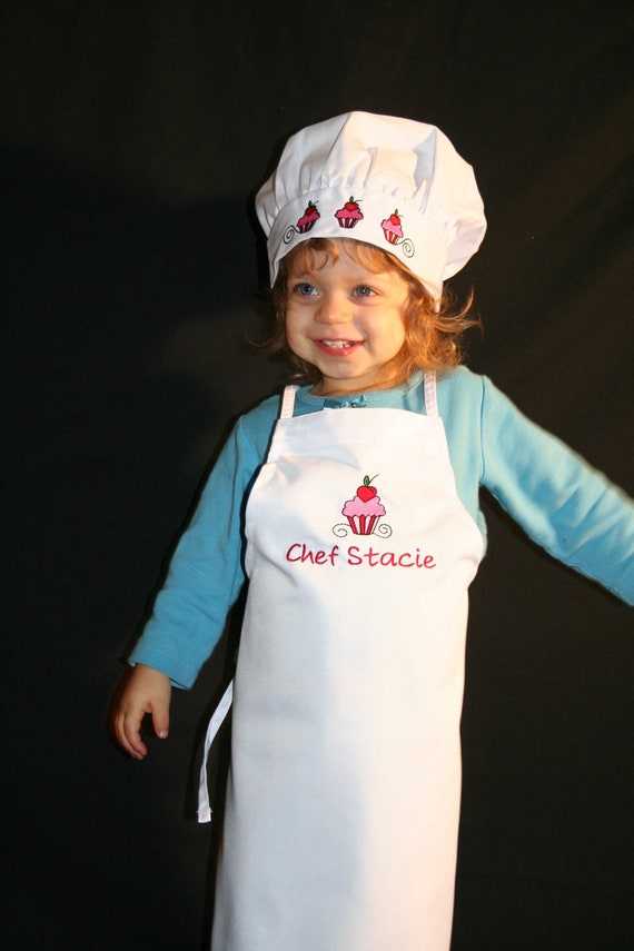 Personalized Cupcake Chef Apron And Hat Set Childrens Etsy