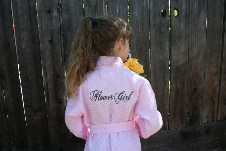 Aqua and Light Pink; 2 Sizes; Personalization and RUSH Shipping Personalized Children and Flower Girl Wedding Robes in White