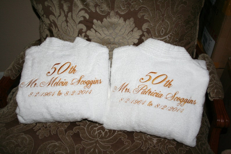 2 PERSONALIZED His and Hers Embroidered Five Star Hotel Robe Set Monogrammed Robes Wedding Robes Anniversary Gifts Luxury Robes