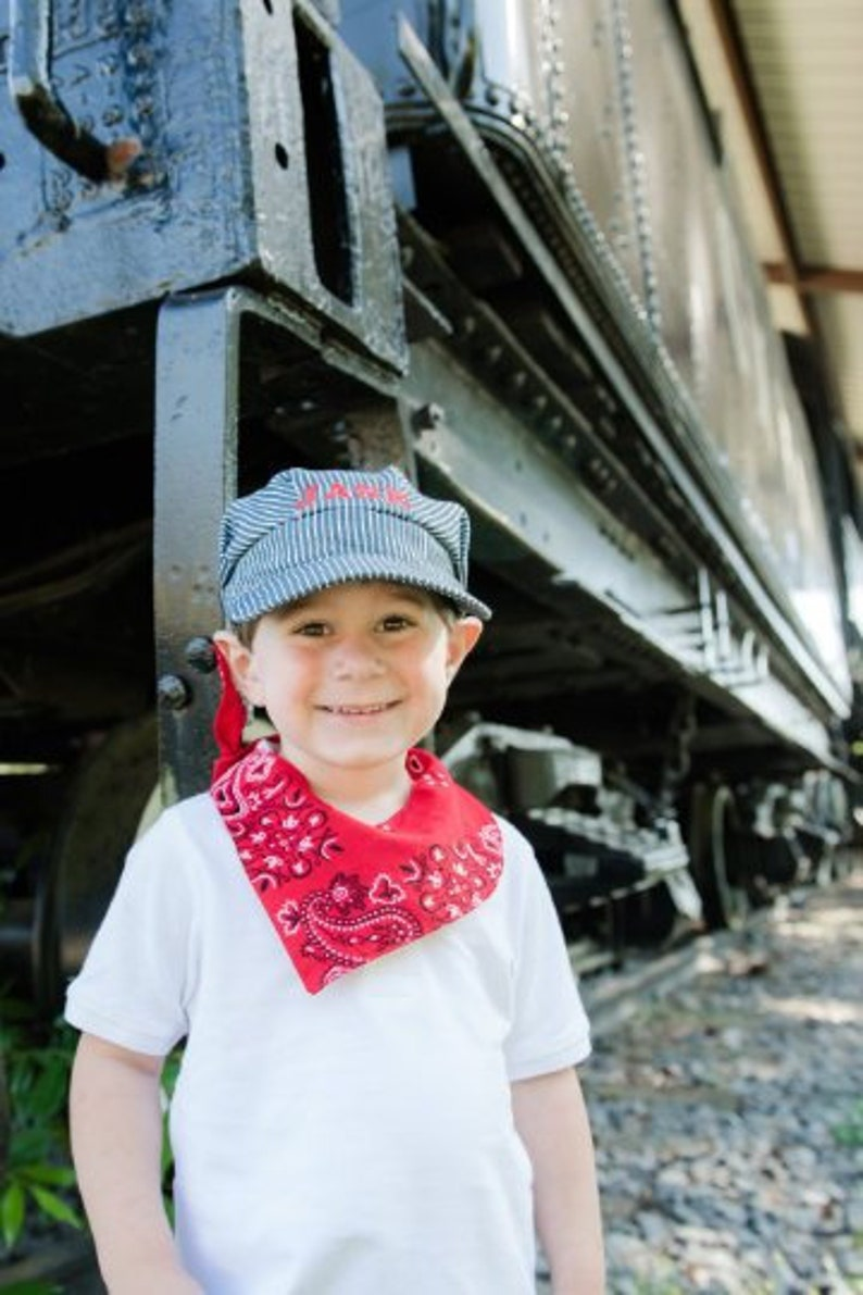 785efaf59cae4 PERSONALIZED Train Hat and Bandanna train birthday Train