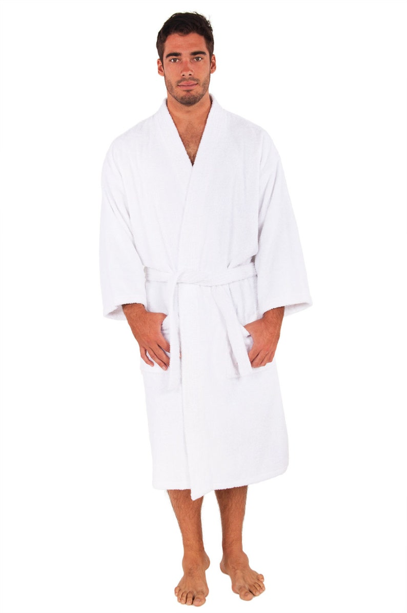 RUSH SHIP PERSONALIZED Black or White Luxury Velour Terry Hotel Robe; His and Hers Wedding Robes; Men/'s and Woman/'s Robes; Monogrammed Robes