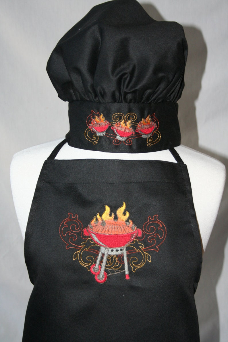 PERSONALIZED Adult BBQ Apron and Chef/'s Hat