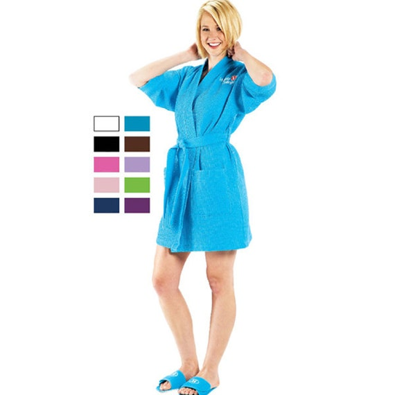 RUSH Ship Included: PERSONALIZED Large Unisex Waffle Weave Bath Robe in Black or White Long Robes Available Plus Sizes 2XXL Robes