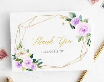 Purple Gold Geometric Thank You Cards, Editable Lilac Floral Thank You Cards, Template Printable Thank You Instant Download Templett 511-A