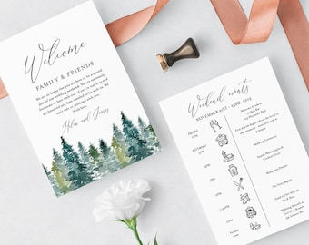 Rustic Woodland Editable Welcome Bag Letter Itinerary, Mountains Wedding Timeline, Printable Order of Events Template Instant Download 515-A