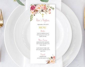Pink Gold Floral Editable Baptism Menu, Printable Boho Christening Menu Template, Floral Naming Day Menu, Gold Cross Instant Download 308-PG