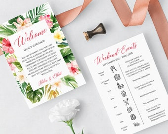 Tropical Pink Floral Editable Welcome Bag Letter Itinerary, Wedding Timeline, Printable Order of Events, Template, Instant Download 508-A