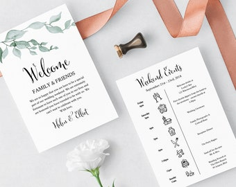 Greenery Editable Welcome Bag Letter Itinerary, Green Leaves Wedding Timeline, Printable Order of Events, Template, Instant Download 517-A