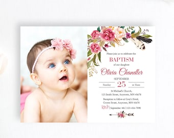 Boho Feathers Editable Photo Boho Baptism Invite, Printable Pink Floral Baptism Invitation Template, Girl Christening Instant Download 309-W