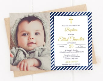 Navy Gold Editable Photo Baptism Invite, Navy Stripe Boy Baptism Invite Template, Printable, Christening, Naming Day, Instant Download 322-W