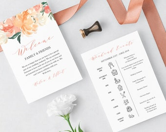 Coral Peach Floral Editable Welcome Bag Letter Itinerary, Blush Wedding Timeline, Printable Order of Events, Template Instant Download 501-A