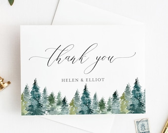 Woodland Printable Thank You Cards, Editable Rustic Thank You Cards, DIY Template, Spruce Trees Winter Thank Instant Download Templett 515-A