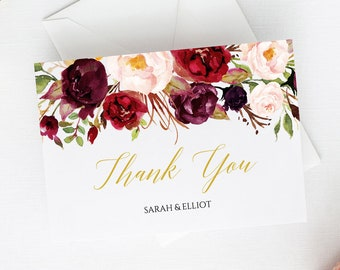 Marsala Gold Printable Thank You Cards, Editable Floral Thank You Cards, DIY Template, Burgundy Floral Thank Instant Download Templett 512-A
