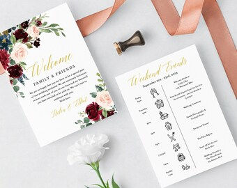 Navy Merlot Gold Floral Editable Welcome Bag Letter Itinerary, Wedding Timeline, Printable Order Events, Template, Instant Download, 520-A
