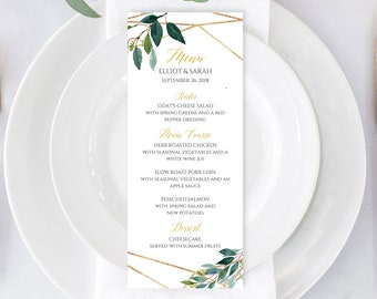 Green Gold Geometric Editable Menu, Botanical Table Wedding Menu, Printable Menu DIY Template Calligraphy Instant Download Templett 504-A