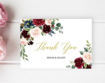 Merlot Navy Gold Floral Thank You Cards, Editable Burgundy Blush Thank You Cards, DIY Template, Printable Thank You, Instant Download 520-A