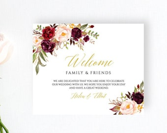 Marsala Gold Floral Editable Welcome Bag Labels, Printable Hotel Bag Label Template, Boho Welcome Box Label, Instant Download Templett 512-A