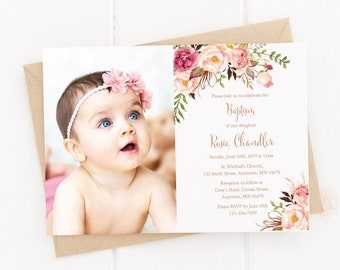 Rose Gold Editable Photo Boho Baptism Invite, Printable Floral Baptism Invitation Template, Girl Christening Invite, Instant Download 308-RG