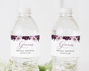 Purple Floral Editable Water Bottle Labels, Plum Lavender Water Bottle Label DIY Template, Lilac Printable Label, Instant Download 527-A