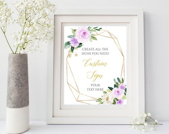 Purple Gold Geometric Editable Custom Wedding Sign, Floral Unlimited Signs, Printable Wedding Decor Template Instant Download Templett 511-A