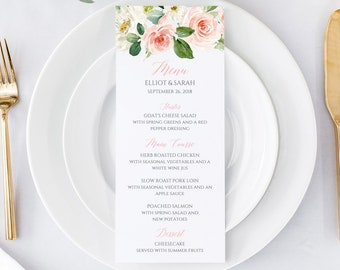 Blush Pink Editable Menu, Blush Floral Table Wedding Menu, Printable Pink Boho Menu DIY Template Calligraphy Instant Download Templett 505-A