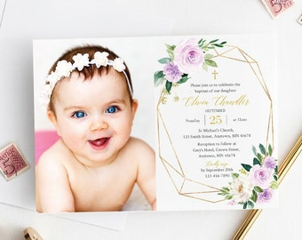 Purple Gold Geometric Photo Baptism Invite Template, Editable Floral Baptism Invitation, Girl Christening, Printable, Instant Download 511-A