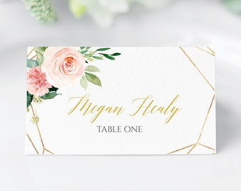 Blush Gold Geometric Editable Place Cards, Pink Floral Escort Cards, Blush Gold Name Cards, DIY Template, Instant Download Templett 503-A