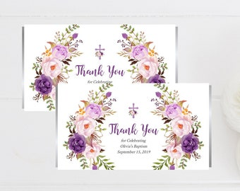 Purple Boho Floral Baptism Candy Bar Wrapper Template, Printable Editable Hershey Bar Chocolate Wrapper Lilac, Aldi, Instant Download 314-W