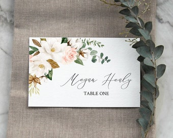 Magnolia Cotton Editable Place Cards, White Pink Floral Escort Cards, Magnolia Name Cards, DIY Template, Instant Download Templett 524-A