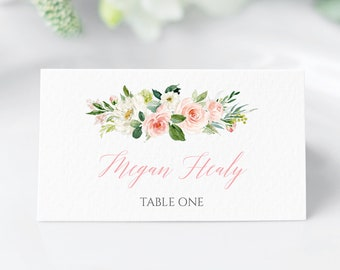 Blush Floral Editable Place Cards, Pink Floral Escort Cards, Blush Greenery Boho Name Cards, DIY Template, Instant Download Templett 505-A