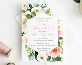 Pink Floral Frame Baptism Editable Invite, Printable Blush Baptism Invitation Template, Christening Naming Day Invite Instant Download 505-A