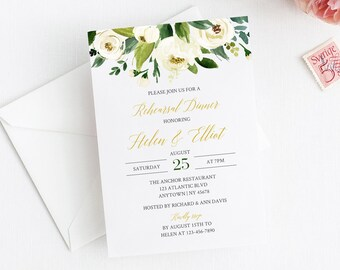 White Gold Greenery Floral Editable Rehearsal Dinner Invitation, Floral Rehearsal Invite DIY Template, Printable, Instant Download, 507-A