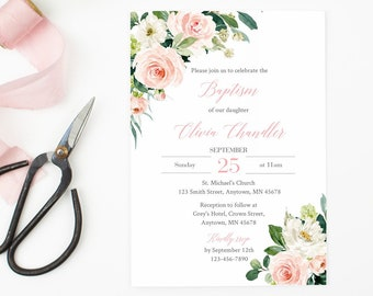 Girl Baptism Editable Invite, Printable Blush Pink Floral Baptism Invitation Template, Christening Naming Day Invite Instant Download 505-A