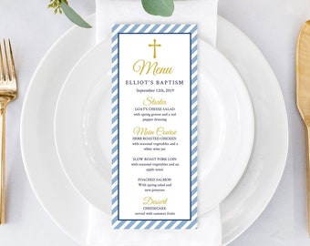 Blue Stripe Printable Baptism Menu Template, Blue Boy Christening Editable Menu, Blue Striped Naming Day Menu, Cross, Instant Download 334-W